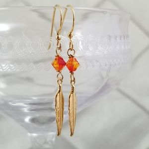 Jewelry - Gold Feather & Fire Crystal Earrings